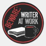 Guárdese: Escritor en el trabajo Pegatinas