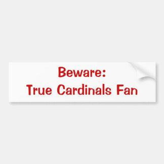 Guárdese Fan Bumpersticker de los cardenales Etiqueta De Parachoque