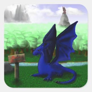 Guárdese los dragones calcomanías cuadradas personalizadas