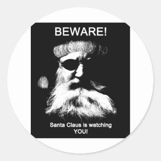 Guárdese--¡Santa le está mirando! Pegatina Redonda