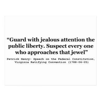 Guardia con la atención celosa la LIBERTAD pública Postal
