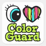 Guardia de honor brillante del amor del corazón I  Pegatina Cuadradas Personalizadas
