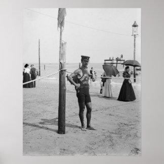 Guardia de vida de la playa de Brighton, 1906. Póster
