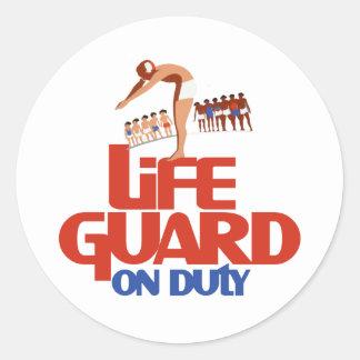 Guardia de vida de servicio etiquetas redondas