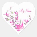 guardia decorativo de las flores rosadas hermosas pegatina en forma de corazón