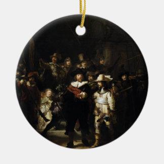 Guardia nocturna de Rembrandt Adorno Navideño Redondo De Cerámica