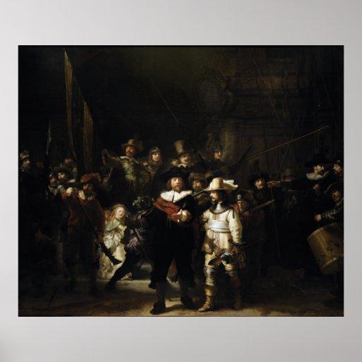 Guardia nocturna de Rembrandt Póster