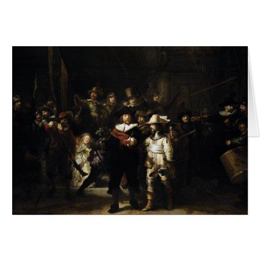 Guardia nocturna de Rembrandt Tarjetón