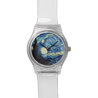 Guardia nocturna estrellado de Van Gogh Reloj De Mano
