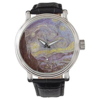 Guardia nocturna estrellado de Vincent van Gogh Reloj De Mano