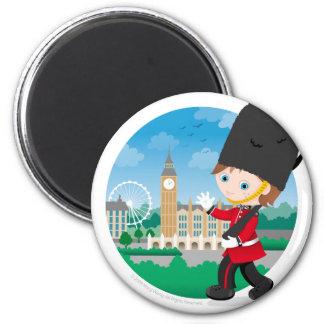 Guardia real británico imán redondo 5 cm
