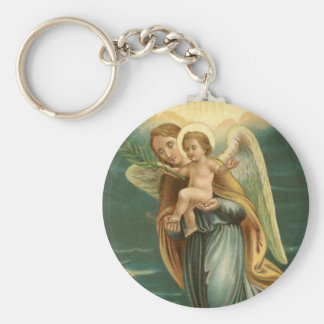 Guardian Angel And Baby Jesus Basic Round Button Keychain
