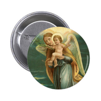 Guardian Angel And Baby Jesus Button