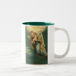 Guardian Angel And Baby Jesus Two-Tone Coffee Mug