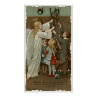 Guardian angel and children with weapons poster