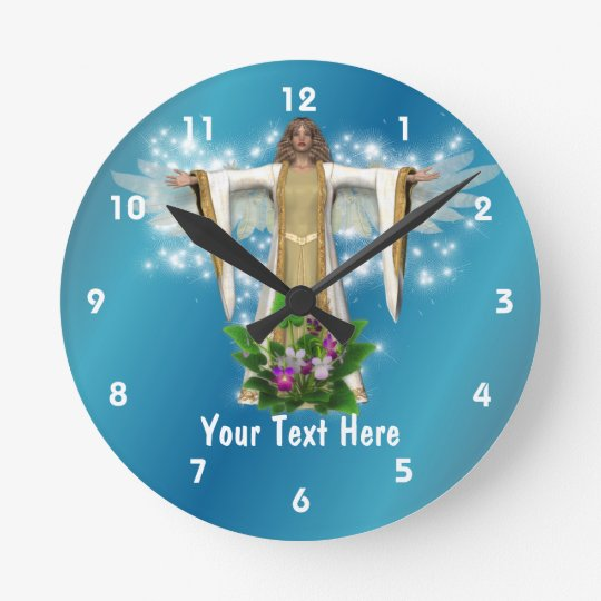 Guardian Angel And Flowers Personalized Round Clock
