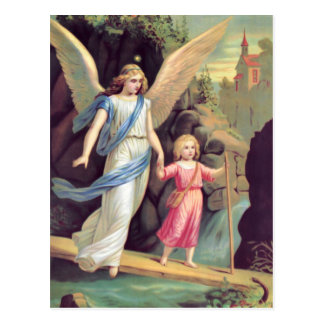 Guardian angel and girl postcard
