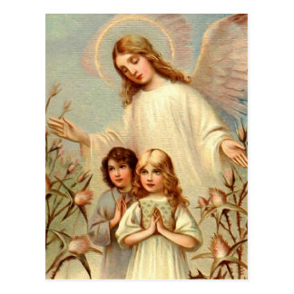Guardian angel and praying children and thistle postcard