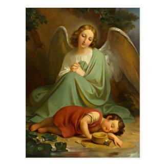Guardian angel and sleeping child postcard