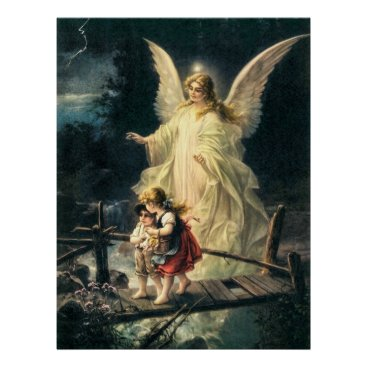 Angelfriends Guardian angel and two children on bridge poster