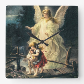 Guardian angel and two children on bridge square wall clock