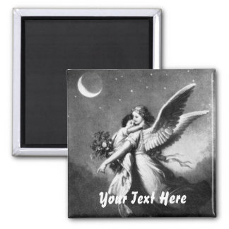 Guardian Angel At Night 2 Inch Square Magnet