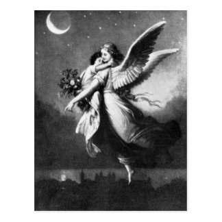 Guardian Angel At Night Postcard