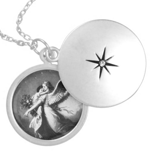 Guardian Angel At Night Round Locket Necklace