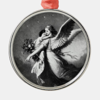 Guardian Angel At Night Round Metal Christmas Ornament
