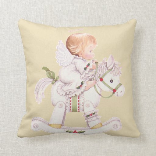 guardian angel baby rocking horse pillow any color zazzle
