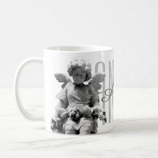 Guardian Angel black and white retro monogram Coffee Mug