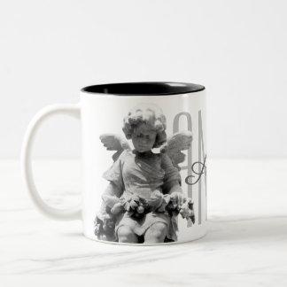 Guardian Angel black and white retro monogram Two-Tone Coffee Mug
