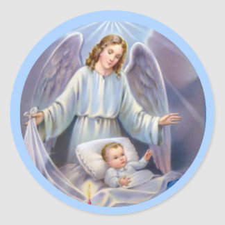 Guardian Angel boy baby candle heavens blue Classic Round Sticker