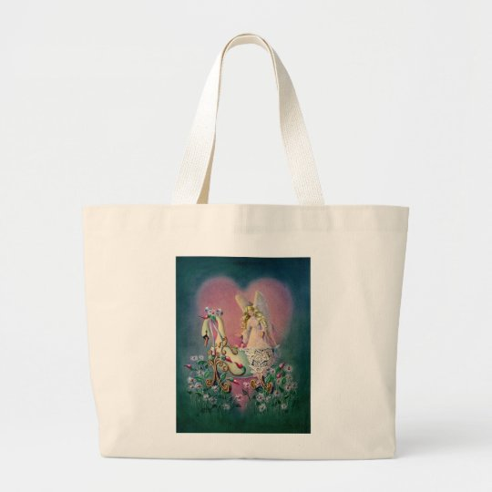 GUARDIAN ANGEL by SHARON SHARPE Large Tote Bag