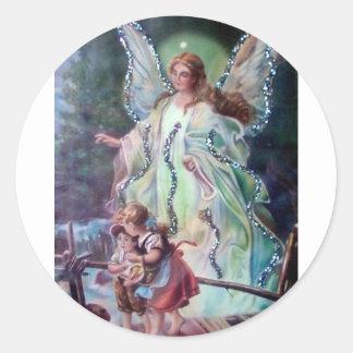 GUARDIAN ANGEL c. 1900 Round Sticker