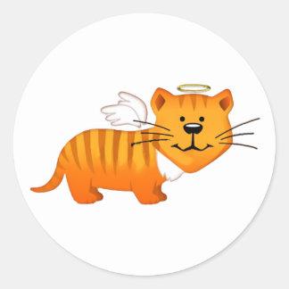 Guardian Angel Cat Classic Round Sticker