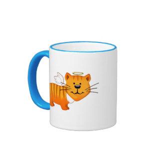Guardian Angel Cat Ringer Coffee Mug
