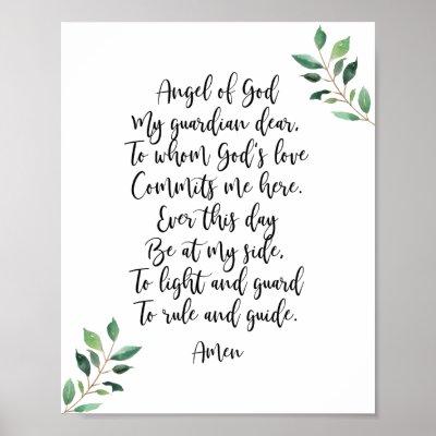 picture regarding Guardian Angel Prayer Printable known as Dad or mum Angel Prayer Poster