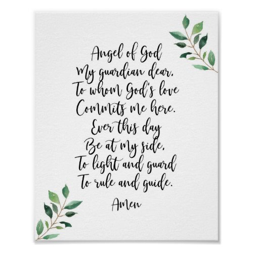 Guardian Angel Catholic Prayer Print Calligraphy