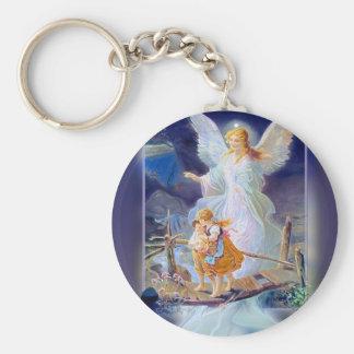 Guardian Angel, Children and Bridge Basic Round Button Keychain