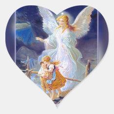 Guardian Angel, Children And Bridge Heart Sticker at Zazzle