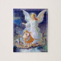 Guardian Angel, Children and Bridge Jigsaw Puzzle