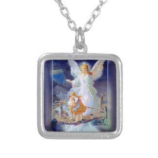 Guardian Angel, Children and Bridge Square Pendant Necklace