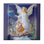 Guardian Angel, Children and Bridge Small Square Tile