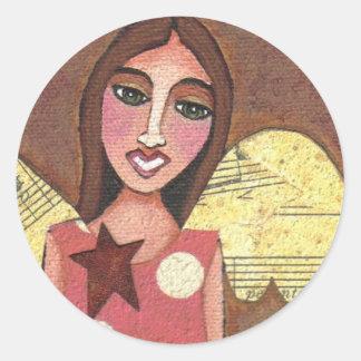GUARDIAN ANGEL - collage folk art stickers