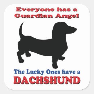 Guardian Angel Dachshund Square Sticker