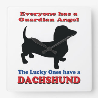 Guardian Angel Dachshund Square Wall Clock