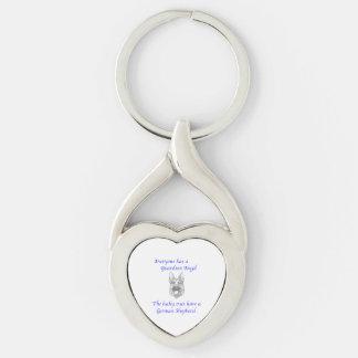 GUARDIAN ANGEL GERMAN SHEPHERD Silver-Colored Heart-Shaped METAL KEYCHAIN
