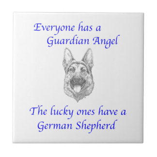 GUARDIAN ANGEL GERMAN SHEPHERD SMALL SQUARE TILE