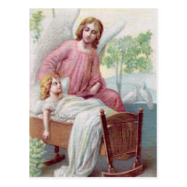 Guardian angel, girl and cradle postcard
